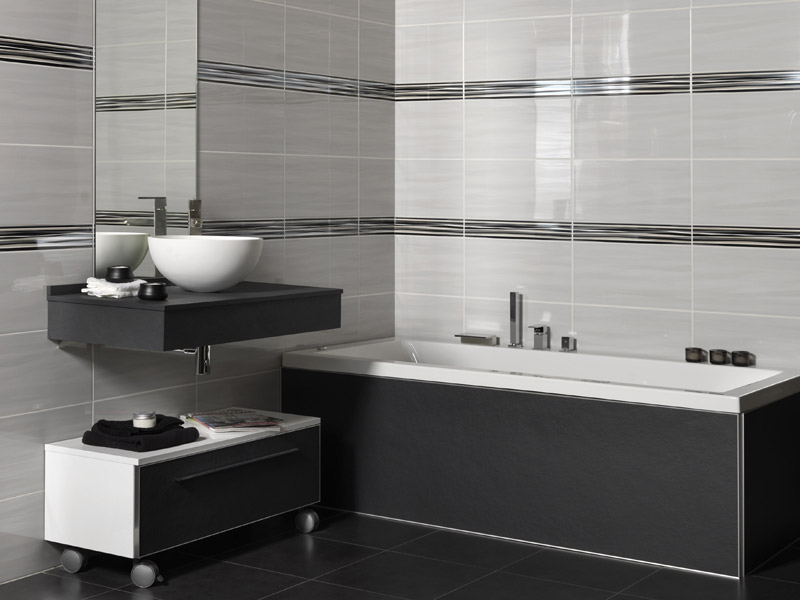 Wave 25x50 for Salle de bain carrelage gris anthracite