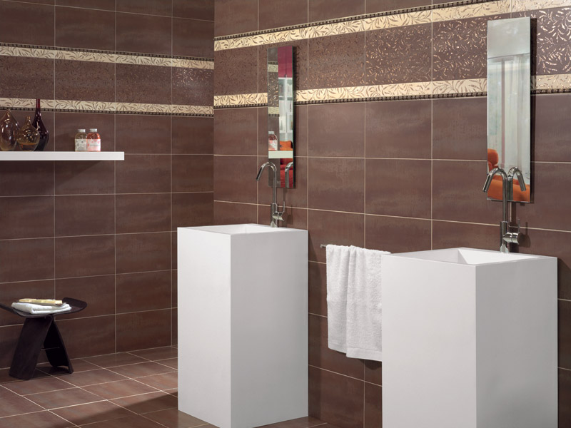 Carrelage salle de bain marron for Carrelage marron salle de bain